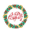 realistic christmas wreath with red berries vector image vector image