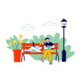 remote freelance work selfemployment concept man vector image
