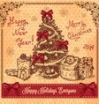 retro card with christmas tree vector image vector image