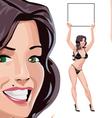Round Girls in Black Bikini vector image
