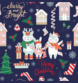 seamless pattern merry christmas animals on blue vector image