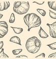 seamless pattern with garlic design element vector image