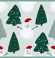 seamless pattern with santa snowmen and christmas vector image vector image