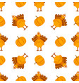 seamless pattern with turkeys and pumpkins vector image vector image