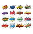 set comic sound effects pop art style vector image