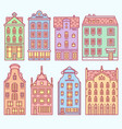set of europe house or apartments cute vector image vector image