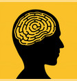 silhouette human head with a maze vector image vector image