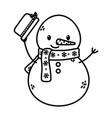 snowman waving hat celebration merry christmas vector image vector image