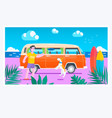 summer timesurf van on the beachsummer holiday vector image vector image