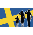 Sweden soldier family salute vector image vector image