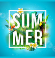 tropical summer holiday design with toucan bird vector image vector image