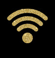wi-fi icon with glitter effect isolated on black vector image