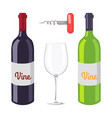 wine bottles and corkscrew vector image
