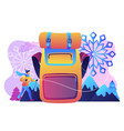 winter hiking concept vector image vector image