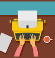 woman hands on typewriter icon flat style vector image