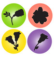 set of icons with the image of flowers vector image