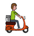 man riding a scooter icon vector image