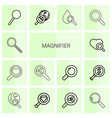14 magnifier icons vector image vector image