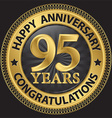 95 years happy anniversary congratulations gold vector image