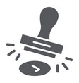 approval stamp glyph icon allow and stamper vector image