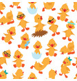 baby duck seamless pattern cute ducklings kids vector image