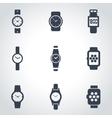 black wristwatch icon set vector image vector image