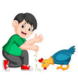 boy give seed to chicken eat vector image vector image