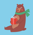 brown bear animal and gift box cute beauty vector image