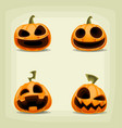 cartoon halloween pumpkin laugh expression set vector image vector image