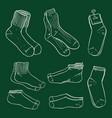 chalk sketch set different socks vector image vector image