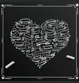 chalkboard sketch hand drawn ribbon heart vector image