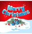 Christmas card poster banner with ice letters fir vector image vector image