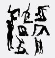 Couple yoga male and female silhouette vector image vector image