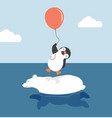 cute polar bear swimming with penguin holding vector image vector image