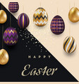 easter card with gold ornate purple eggs on a vector image vector image