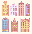 europe house or apartments set doodle sketch vector image