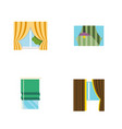 flat icon window set of glass frame curtain vector image