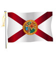 florida state waving flag and flagpole vector image vector image