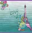 flower love card design with eiffel tower vector image vector image