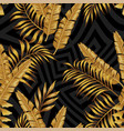 golden exotic leaves seamless abstract grayscale vector image vector image