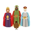 Half body wise man with offering a baby jesus vector image