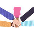 hands mix race group women putting together vector image vector image