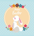 happy easter bunny with flowers dots background vector image vector image