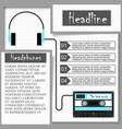 headphones and audiocassette infographics vector image