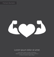 heart with muscle arms premium icon white on dark vector image vector image