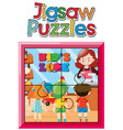 jigsaw puzzle game template with kids in shop vector image vector image