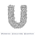 letter u symbol of white leaves vector image vector image