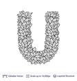 letter u symbol of white leaves vector image