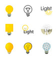 light bulb logo icons set cartoon style vector image vector image
