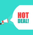 male hand holding megaphone with hot deal speech vector image
